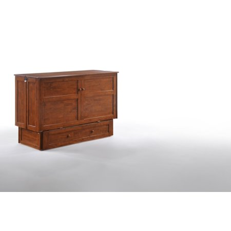 Night   Day Furniture Murphy Cabinet Bed With Mattress  Cherry  Queen