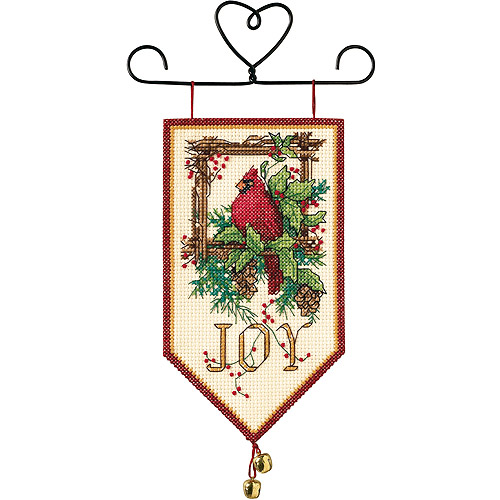 "Dimensions Banners ""Cardinal Joy"" Mini Counted Cross Stitch Kit, 10"" Long"