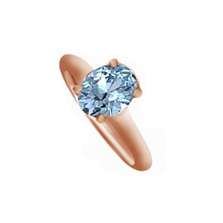 (Oval Shape Simulated Aquamarine Solitaire Ring in 14k Rose Gold ( 3.25 Cttw ) By Jewel Zone US)
