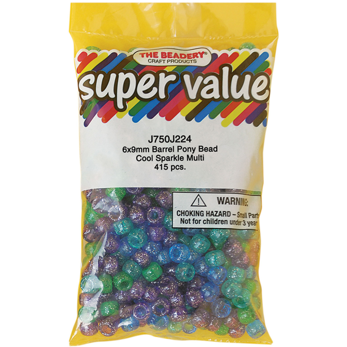 Pony Beads 6mmX9mm 415/Pkg-Cool Sparkle Multicolor