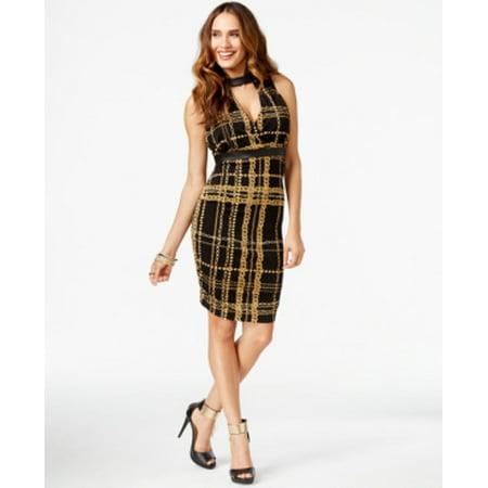 Chain Print Dress - Thalia Sodi Deep Black CM Dress Sleeveless Size L NWT - Movaz