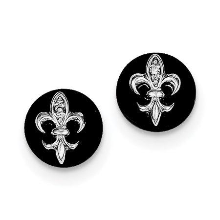 Sterling Silver CZ Fleur de Lis on Onyx Circle Stud Earrings