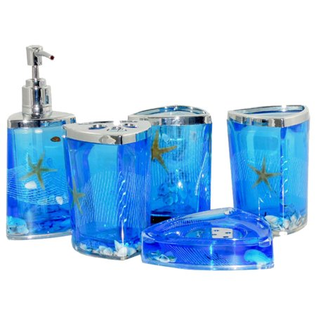 Amc 5Pcs Bathroom Accessories Set Tumbler Soap Dish Liquid Soap Dispenser Toothbrush Holder Blueoil