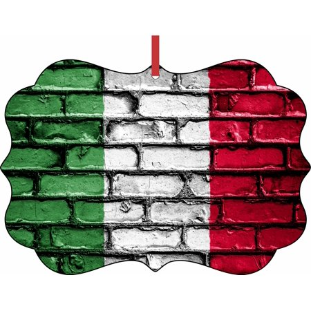 Flag of Italy Double Sided Elegant Aluminum Glossy Christmas Ornament Tree Decoration - Unique Modern Novelty Tree Décor Favors (Italian Flag Decorations)