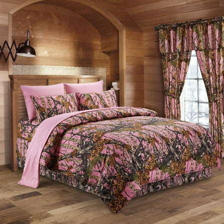 The Woods Pink Camouflage King 8pc Premium Luxury Comforter, Sheet, Pillowcases, and Bed Skirt Set by Regal Comfort Camo Bedding Set For Hunters Cabin or Rustic Lodge Teens Boys and Girls