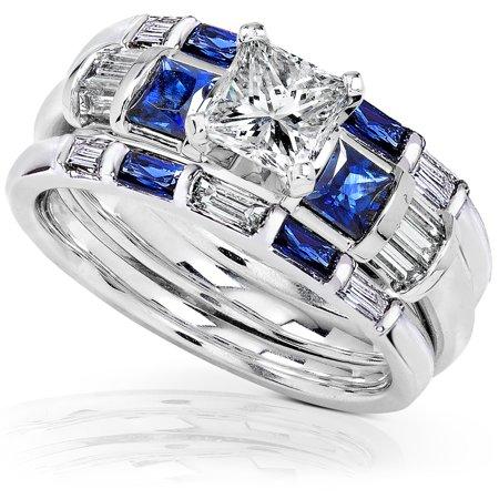 Blue Sapphire Diamond Wedding Rings Set 1 3 4 Carat Ctw In 14k White Gold 3 Piece Set