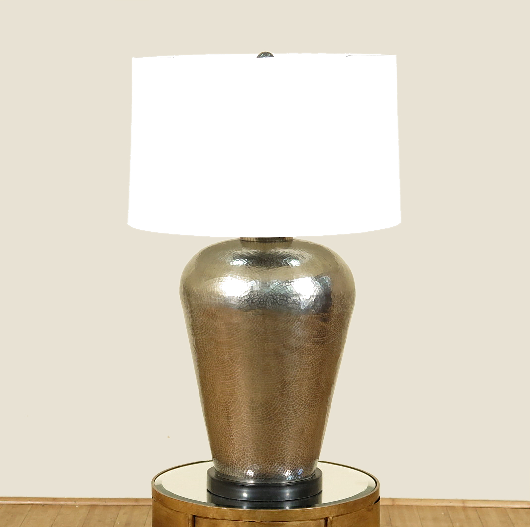 J Douglas Arteriors Home Antique Silver Black Marble Irwin Desk Table Lamp by Arteriors