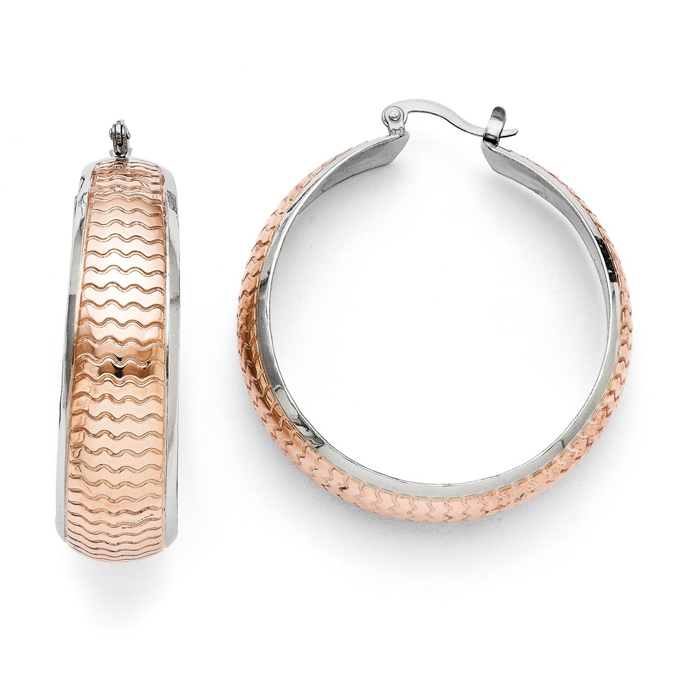 Stainless Steel Polished and Textured Pink IP-plated Hoop Earrings (1.9IN Long x 1.8IN Wide)