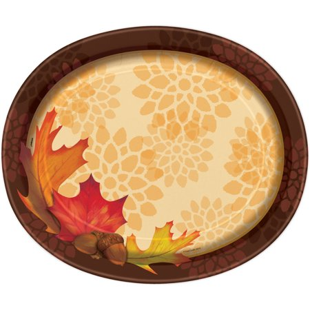 Fall Leaves Paper Oval Plates, 12in, 8ct