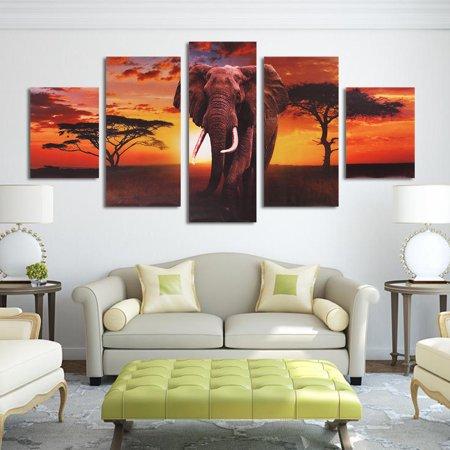 Five Elephants - 5 Panel Canvas Painting Print Picture Sunset Elephant Modern Home Decor Unframed