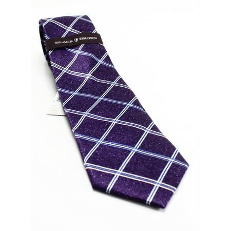 Black Brown 6 Night Skyline Grid Plaid Men's Silk Necktie 254 Not Applicable - Grid Microfiber Tie