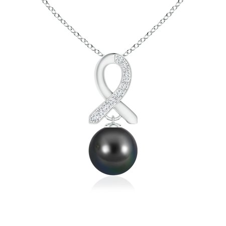 Mother's Day Jewelry - Tahitian Cultured Pearl Drop Pendant with Diamond Ribbon in 14K White Gold (10mm Tahitian Cultured Pearl) - SP0996THPRD-WG-AA-10 ()