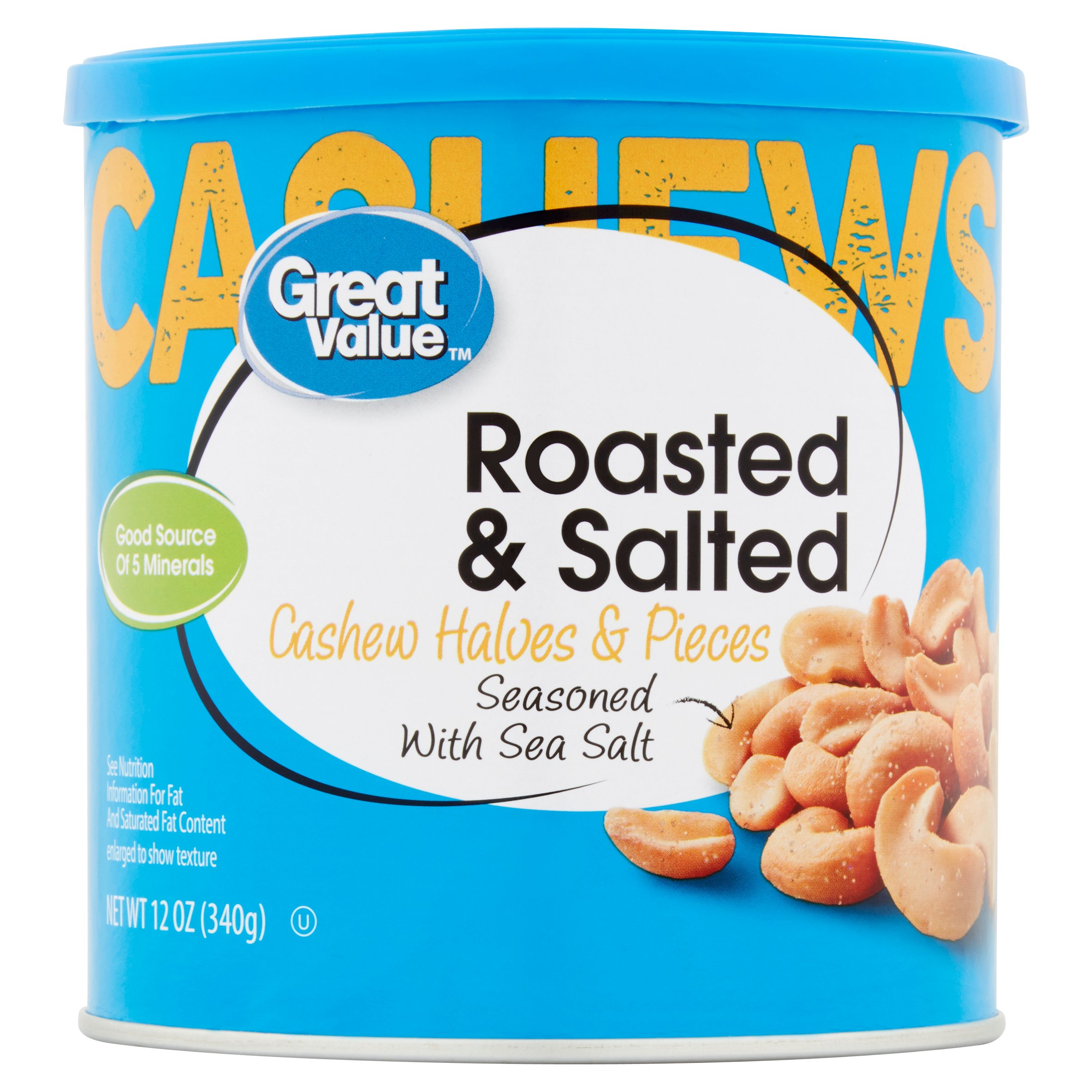 Great Value Cashew Halves & Pieces, Roasted & Salted, 12 oz