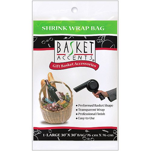 Basket Accents Large Shrink Wrap Bag, 1-Pack