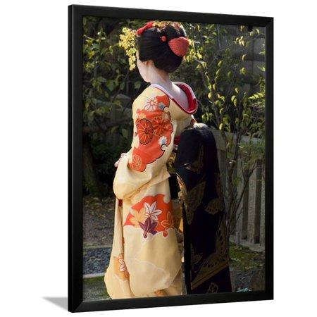 Geisha, Maiko in Gion, Kyoto City, Honshu, Japan Framed Print Wall Art By Christian Kober