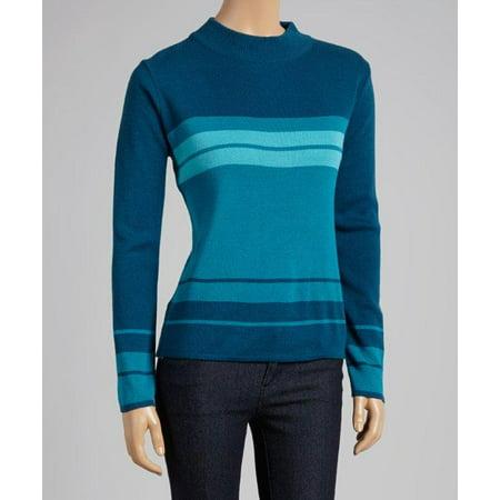 Teal Multi Stripe Mock Neck Sweater (Style# 6842)