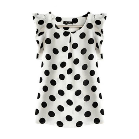 Women Casual Ruffle Short Sleeve Polka Dot Chiffon Shirts Blouse Tops