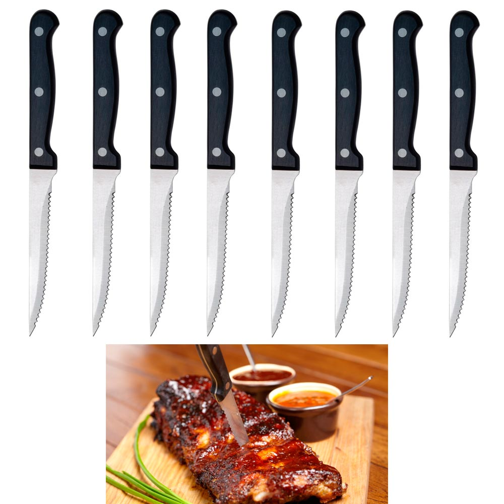 8 Steak Knife Set Serrated Edge Steel Utility Knives Steakhouse Cutlery Utensil by KOLE IMPORTS