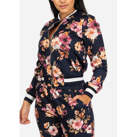 Womens Juniors Fashion Casual Long Sleeve Zip Up Navy Floral Striped Baseball Bomber Jacket 10953T