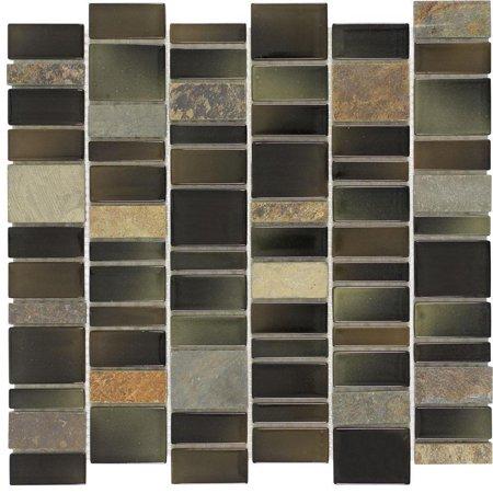 MTO0026 Modern Slate Black Green Brown Multi-finish Glass Stone Mosaic Tile
