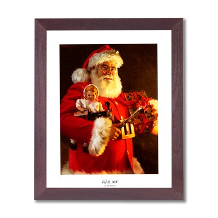 Old St Nick Santa Clause Christmas #1 Wall Picture Cherry Framed Art Print