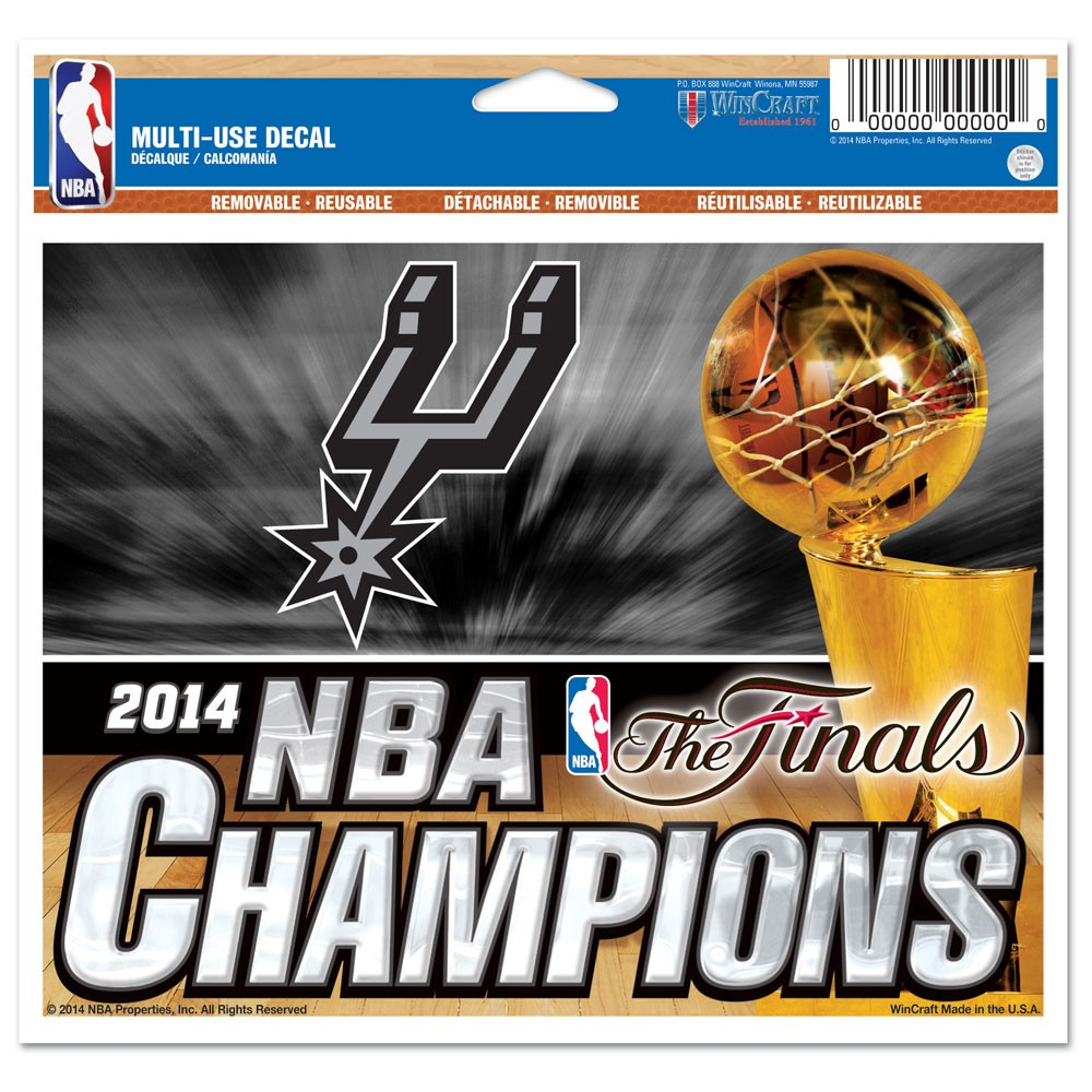 San Antonio Spurs Official NBA 4 inch x 6 inch  Static Cling Window Car Decal by WinCraft