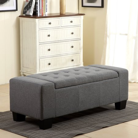 "Belleze 48"" Rectangular Fabric Tufted Storage Ottoman Bench Top Lift, Slate Grey"