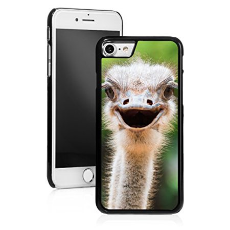 For Apple iPhone Hard Back Case Cover Ostrich Head (Black for iPhone 8) (Black Ostrich)