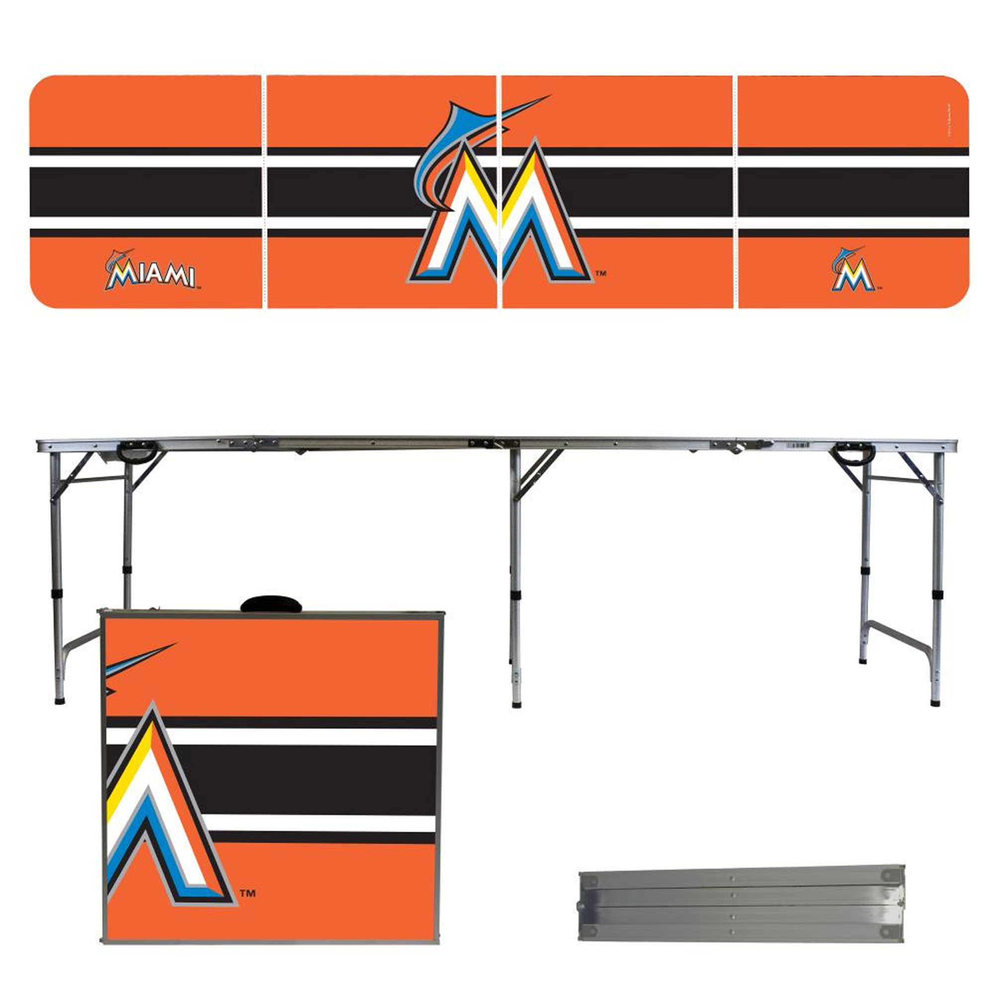 Miami Marlins Striped Design 8' Portable Folding Tailgate Table - No Size