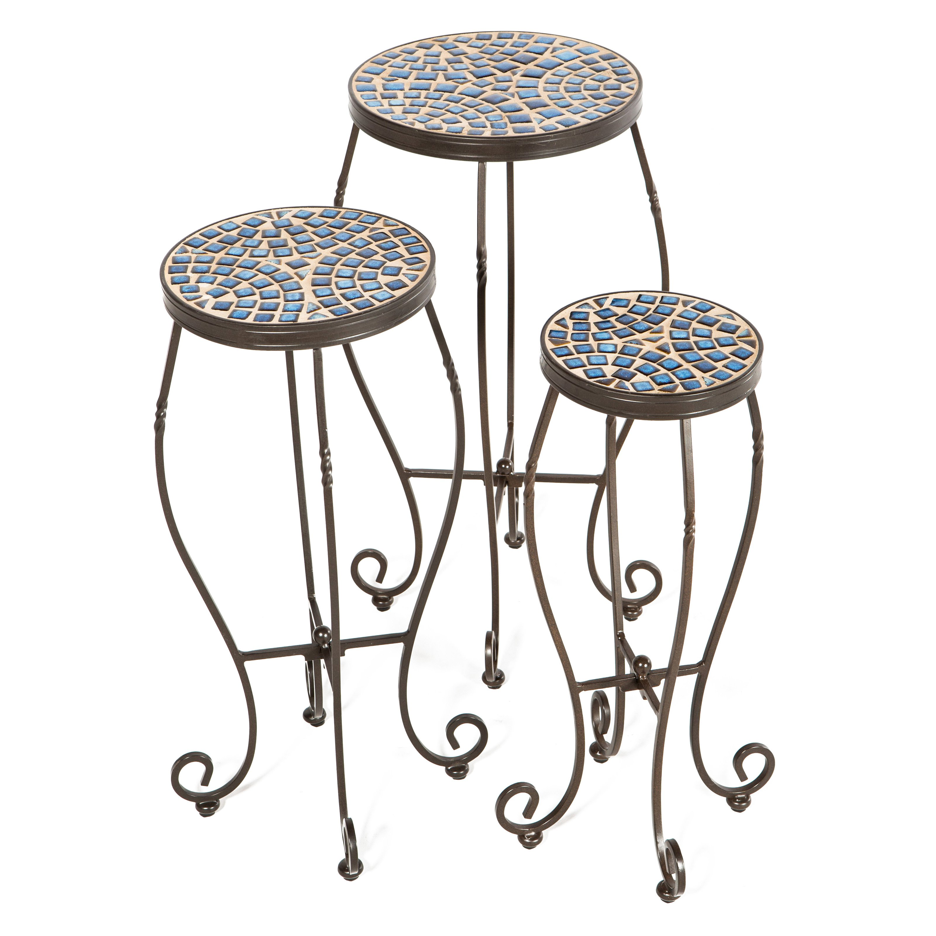 Tremiti Mosaic Plant Stands Set of 3 by Plant Stands