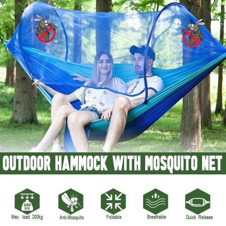 Capacity 440 lbs-Portable Camping Outdoor Double Person Tent Sleeping Hanging Hammock Bed With Mosquito Net Including Hooks,Rope,Storage Bag For Summer Hiking