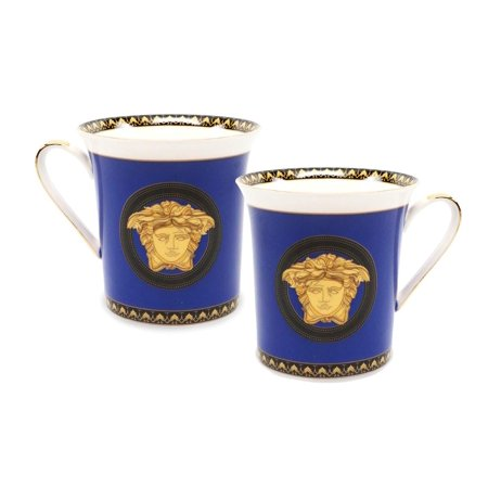 Royalty Porcelain 2-pc Mug Set Medusa for Tea or Coffee, Premium Bone China (Blue)