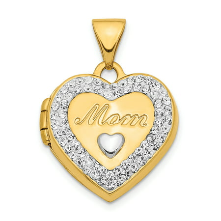 14K Yellow Gold Plated with White Rhodium Crystal 16mm Mom Heart Locket Pendant