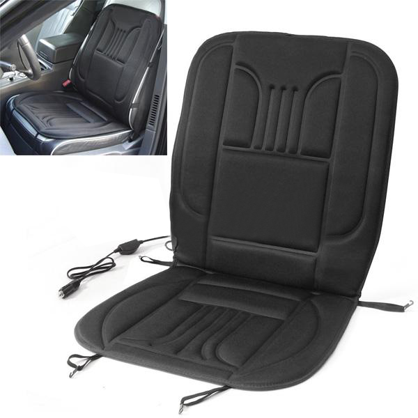 1/2Pcs Car Truck Vehicle Heated Pad Electric Heated Hot Front Seat Cushion Cover Warmer Winter Black
