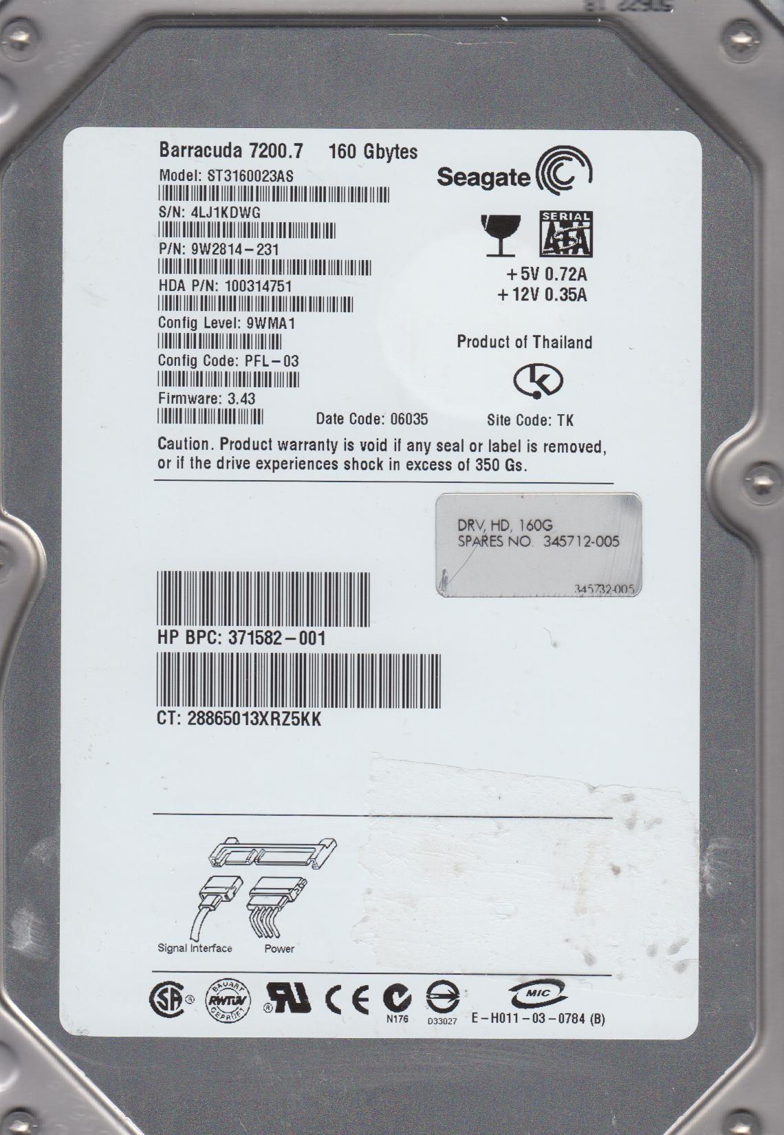 ST3160023AS, 4MT, TK, PN 9W2814-231, FW 3.43, Seagate 160GB SATA 3.5 Hard Drive by Seagate