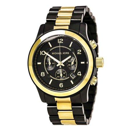 - MK8160 Men's Runway Gunmetal and Yellow Gold Steel Chronograph Watch