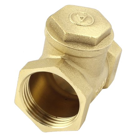 Unique Bargains Water Pipe 1 BSP One Way Horizontal Type Check Valve Fitting Brass Tone