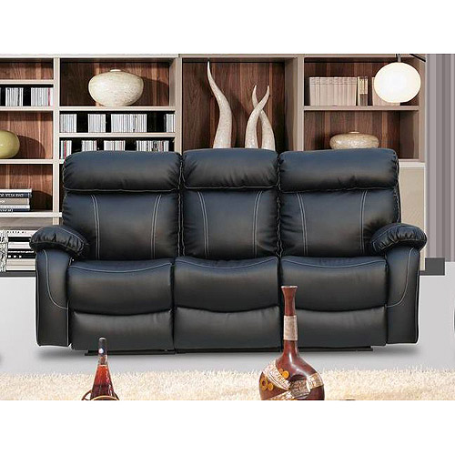Primo International Chateau Bonded Leather Double Reclining Sofa, Black