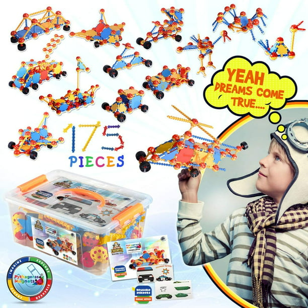 Kids Education Construction Connecting Building Toys For Kids 175 Piece Construction Toys For Boys And Girls Ages 3 4 5 6 7 8 9 10 Years Old Best Engineering Click Interlocking Toys Walmart Com Walmart Com