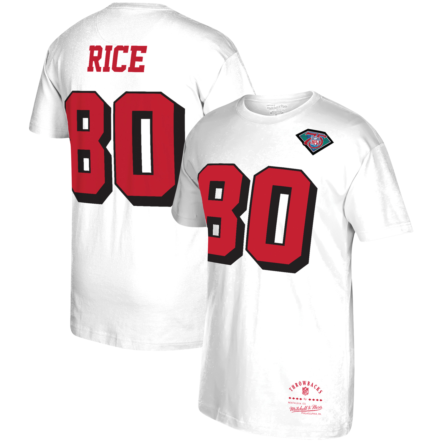 Jerry Rice San Francisco 49ers Mitchell & Ness Throwback Player Name & Number T-Shirt - White
