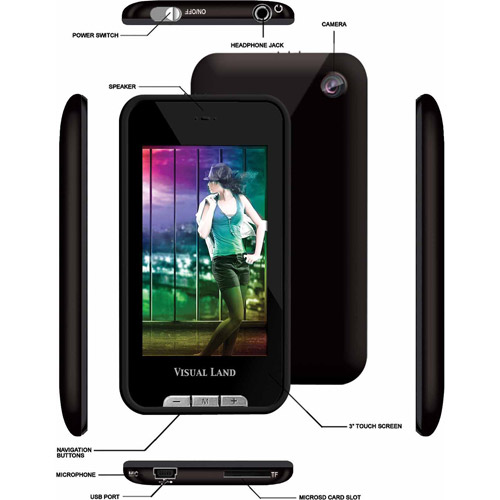 "V-Touch Pro 8GB 3"" Touch Screen TV Out Micro SD MP3 Player"