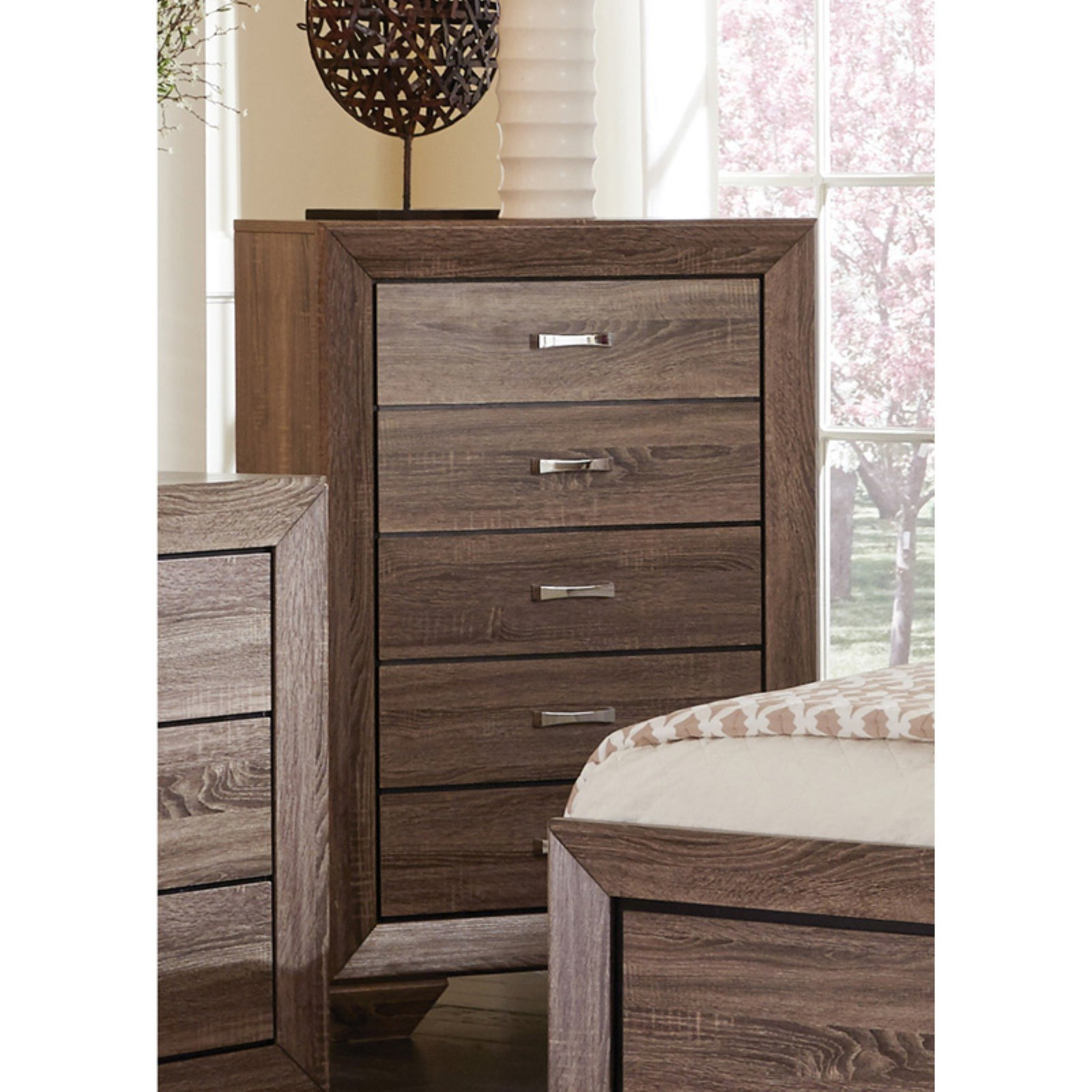 Coaster Company Kauffman 5 Drawer Chest, Washed Taupe