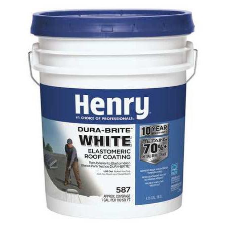 - 4.75 gal. White Elastomeric Roof Coating HENRY HE587GR372
