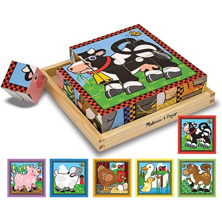 Melissa & Doug Farm Wooden Cube Puzzle With Storage Tray - 6 Puzzles in 1 (16 (Doug Pets Floor Puzzle)