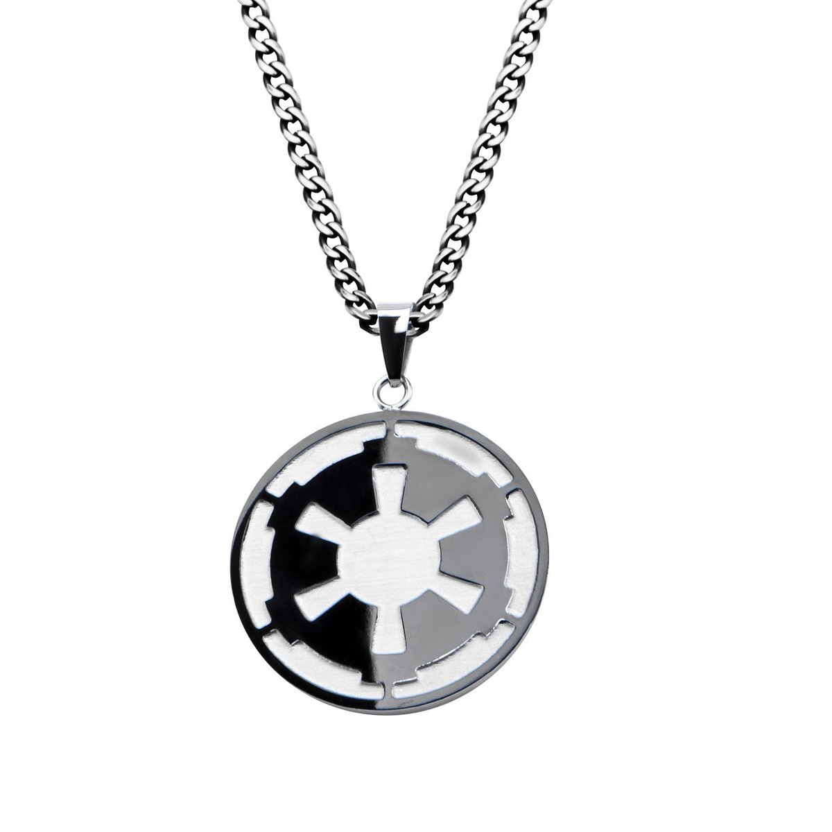 """Disney Star Wars Stainless Steel Small Death Star and Imperial Symbol Pendant, 22"""" Chain"""