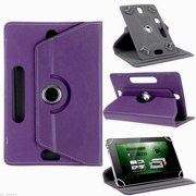 """Universal 8"""" Tablet PU Leather Folio 360 Degree Rotating Stand Case Cover Purple"""
