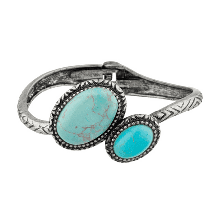 Lux Accessories Turquoise Textured Tribal Hinge Bracelet.