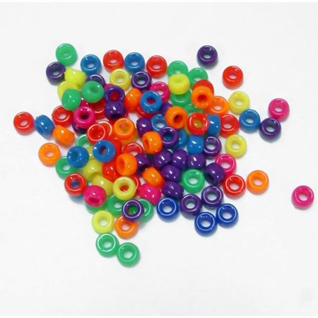 JOLLY STORE Crafts Multi Neon Colors 6.5x4mm Mini Pony Beads, Made in USA, 1000pcs - Multi Color Beads