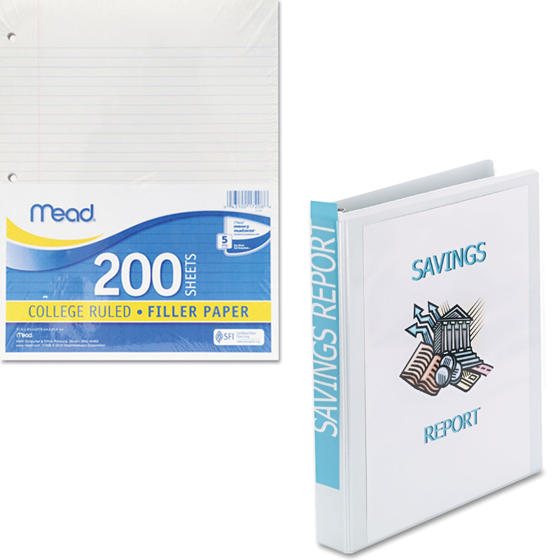 Mead Filler Paper, College Ruled, 3-Hole Punched, 11 x 8-1/2, 200 Sheets Per Pack and Avery Nonstick Heavy-Duty EZD Reference View Binder, Black, Available in Multiple Sizes Bundle