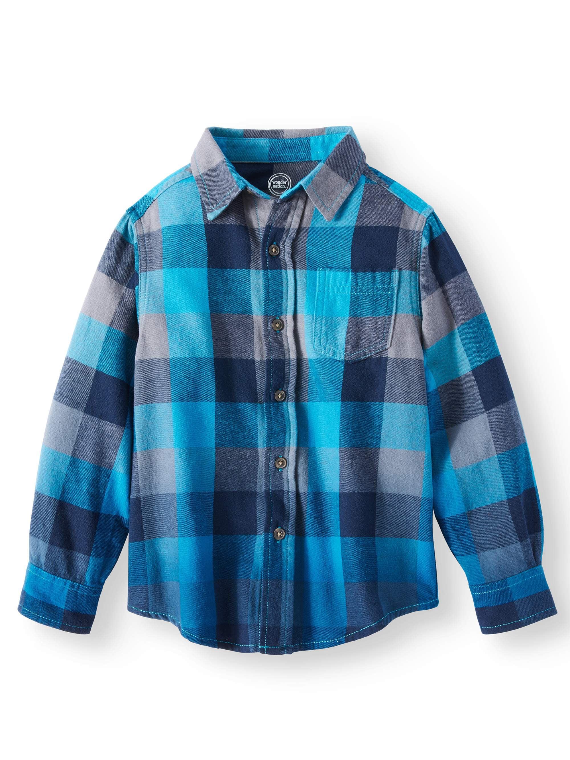 08ee796f4 Wonder Nation - Wonder Nation Long Sleeve Flannel Shirt (Little Boys & Big  Boys) - Walmart.com